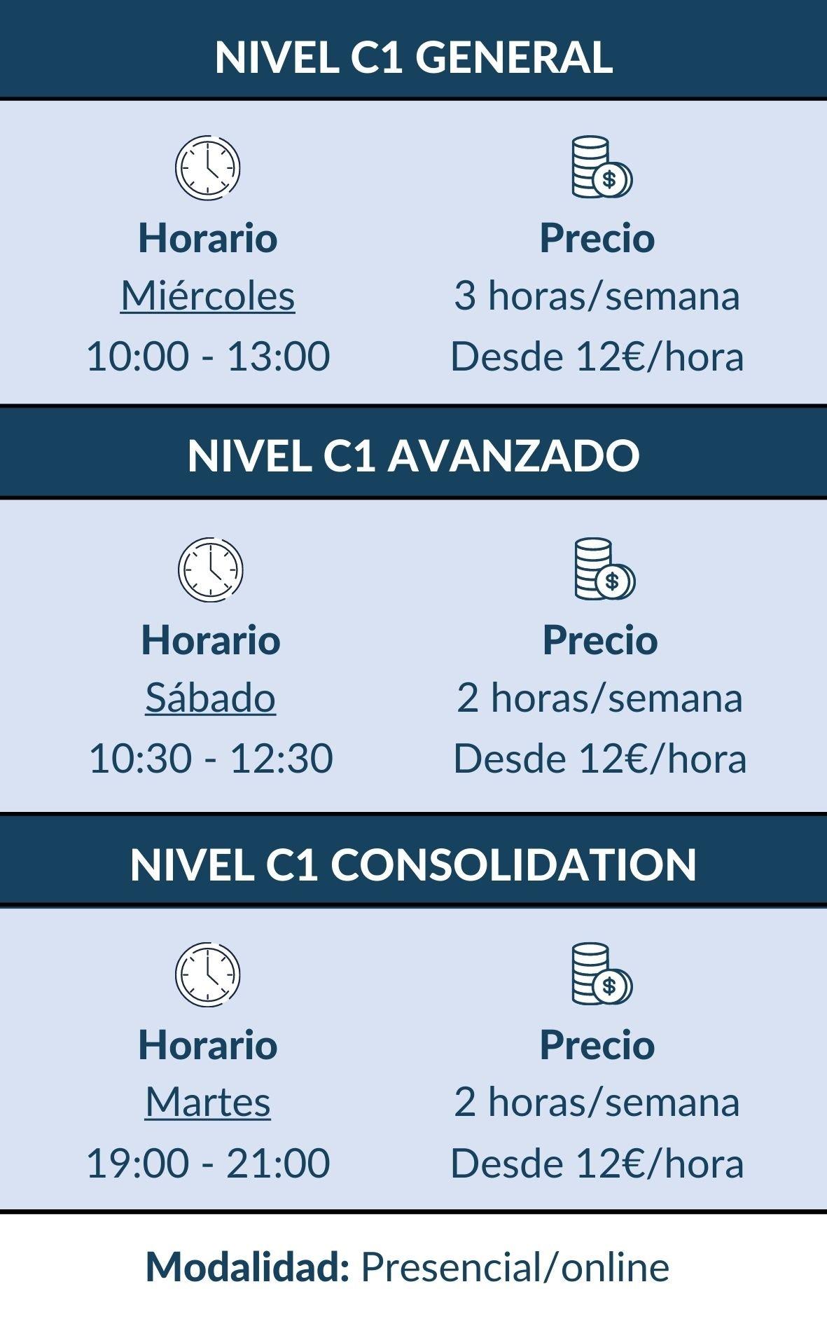 CURSO INGLES C1 HORARIOS