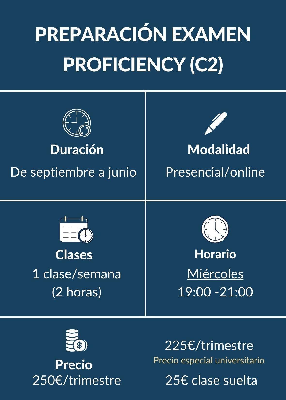 CURSO INGLES PREPARACIÓN EXAMEN INGLES PROFICIENCY C2 MADRID